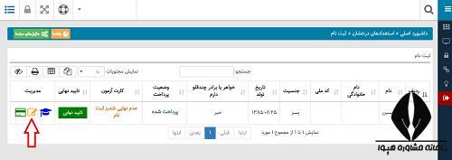 تغییر اطلاعات ثبت نام آزمون مدارس تیزهوشان 1400 - 1401